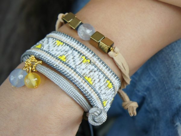 wide ethnic bracelet with shiori crystals
