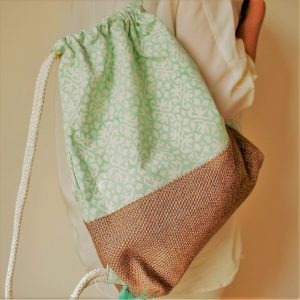 cotton and jute backpack with green water print