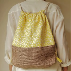backpack cotton and jute print yellow