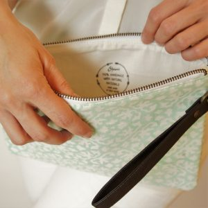 green cotton water clutch bag