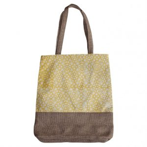 tote bag in jute and cotton fabric