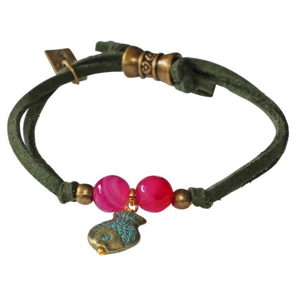 boho style bracelet with fish, fuchsia agates and olive green cord