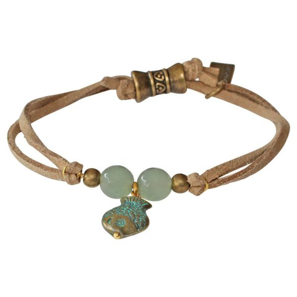 boho style bracelet with fish, aventurines and camel suede cord