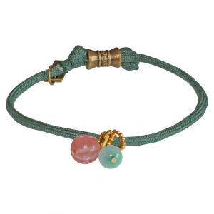 military green bracelet and semiprecious stones