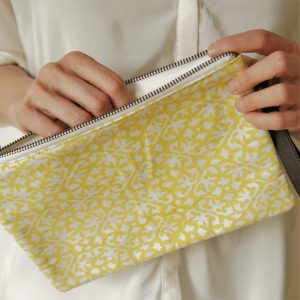 printed cotton clutch bag