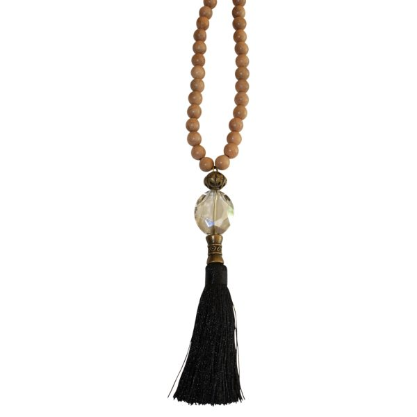 boho jewelry necklace with nylon and silk pompom and crystal