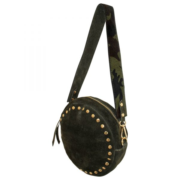 Fashionable round bag with golden studs