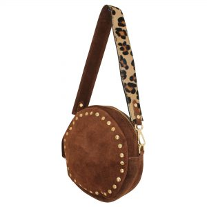 brown and leopard round bag