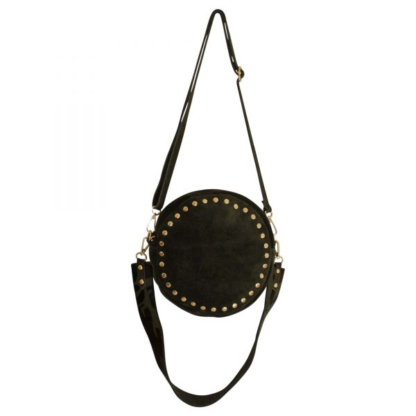 green suede round bag with gold studs