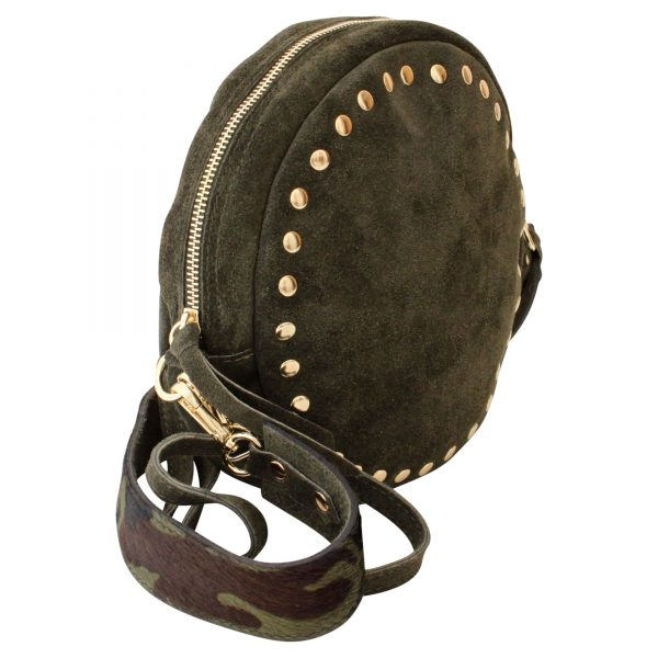 round suede bag with studs and camouflage strap