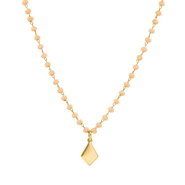 pearl chain necklace and gold-plated pendant