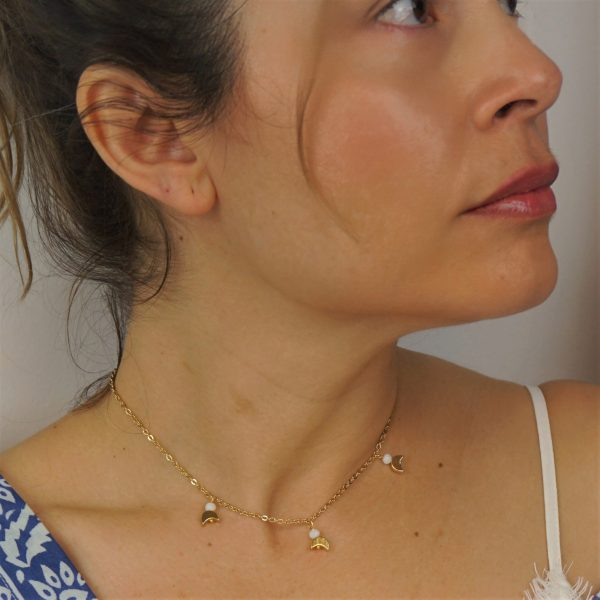 Minimalist choker with moons and gold plated