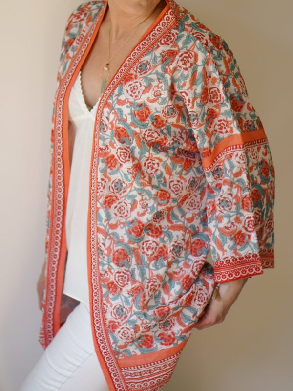 cotton kimono in coral and turquoise
