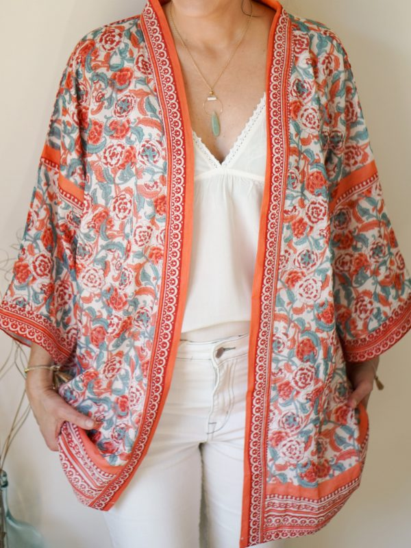 summer kimono in coral and turquoise