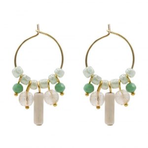 hoop earrings in silver and gold bath ocn turquoise crystal