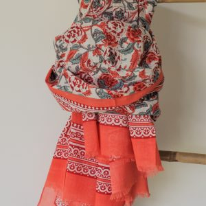 pareo 100 cotton% coral and turquoise floral print