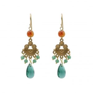 jewel earrings with chandelier and green glass teal teal