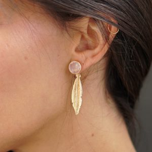 two pieces gold and rose quartz earrings