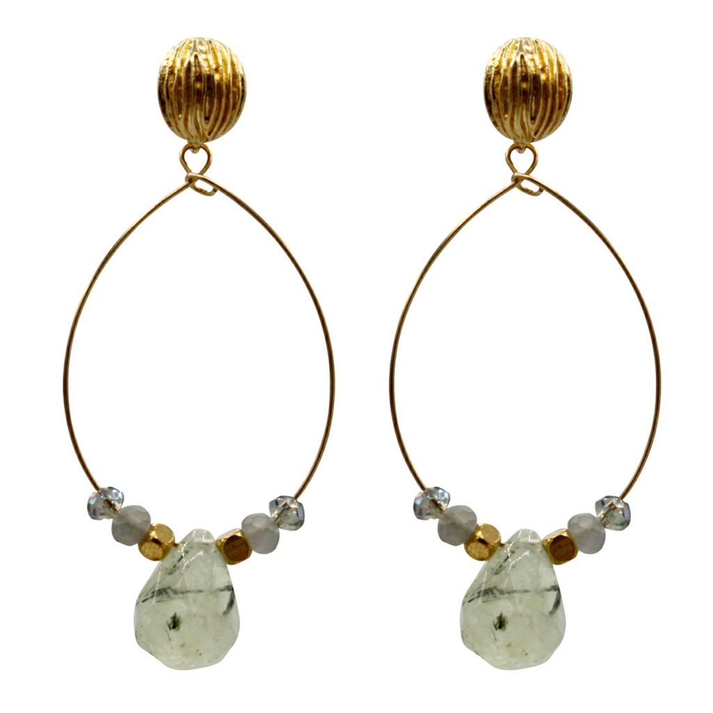 Ref: DEA Teardrop earrings with prehnites and faceted crystals - € 38