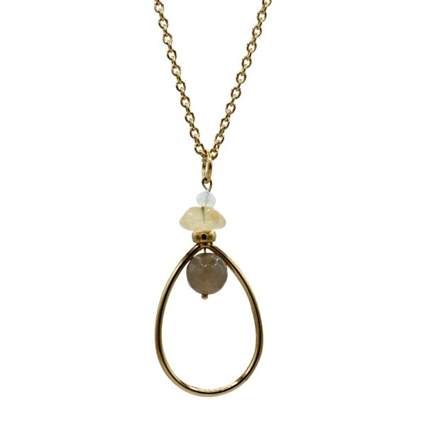 Ref: DP1 Long teardrop pendant with gray agate, citrine and moonstone - € 45
