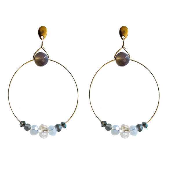 Ref: DEA2 Earrings with citrine, moonstone, gray agate and crystals - € 38