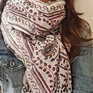 cotton scarf with paisley and floral print