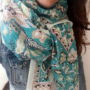 sea ​​green floral print cotton scarf
