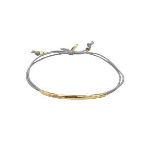 gold-plated bracelet and ice blue cord