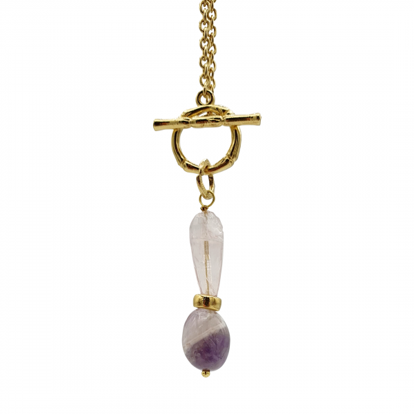 "Amethyst and rose quartz ""Aire"" necklace"