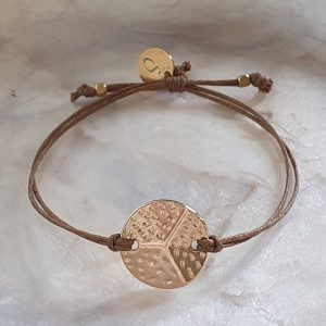 gold-plated bracelet and camel cotton cord