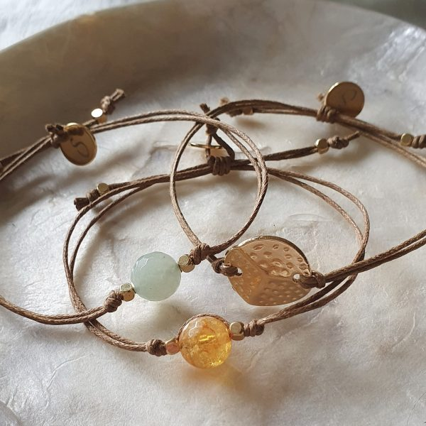 bracelets with natural stones and gold plating