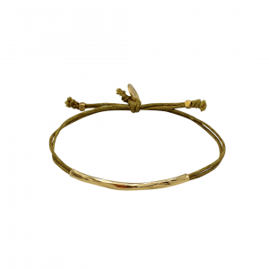 gold plated bracelet and olive green cord