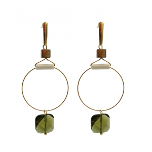 olive green crystal large hoop earrings