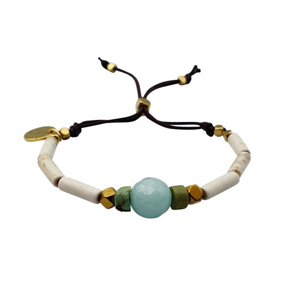 Mahe bracelet in howlite, turquoise and amazonite
